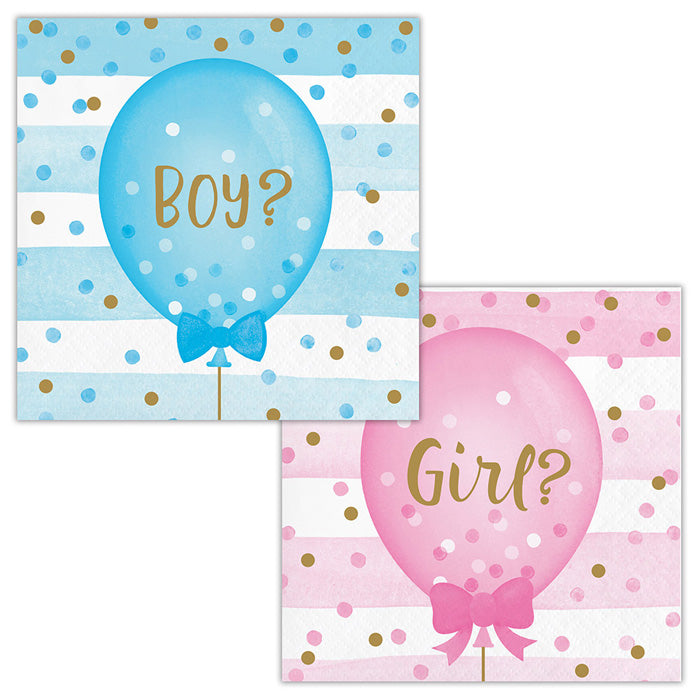 Gender Reveal Balloons Beverage Napkins, 16 ct by Creative Converting