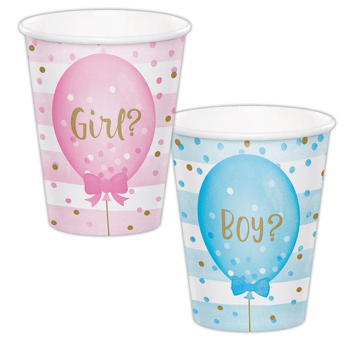 Gender Reveal Balloons Hot/Cold Paper Cups 9 Oz., 8 ct by Creative Converting