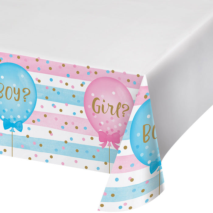 "Gender Reveal Balloons Plastic Tablecover Border Print, 54"" X 102"" by Creative Converting"