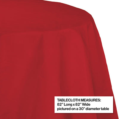 "Classic Red Tablecover, Octy Round 82"" Polylined Tissue Party Decoration"