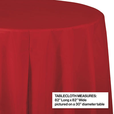 "Classic Red Tablecover, Octy Round 82"" Plastic Party Decoration"