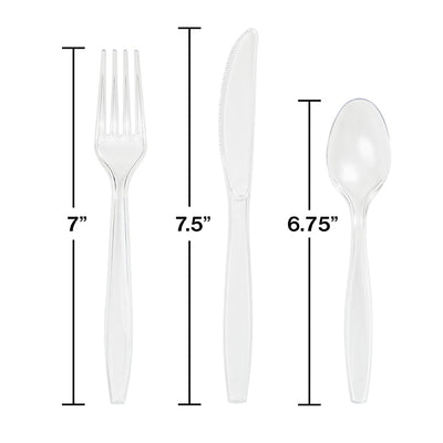 Clear Assorted Plastic Cutlery, 24 ct Party Decoration