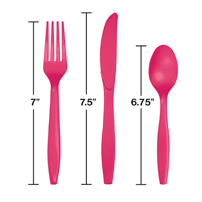 Hot Magenta Pink Assorted Plastic Cutlery, 24 ct Party Decoration