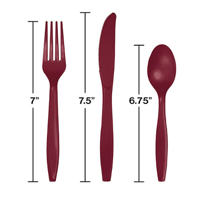 Burgundy Red Assorted Plastic Cutlery, 24 ct Party Decoration