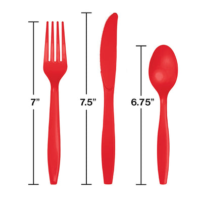 Classic Red Assorted Plastic Cutlery, 24 ct Party Decoration