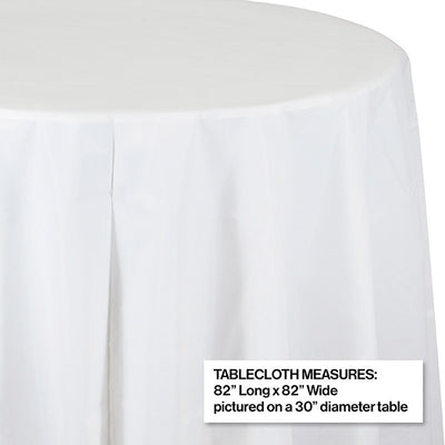 "White Tablecover, Octy Round 82"" Plastic Party Decoration"