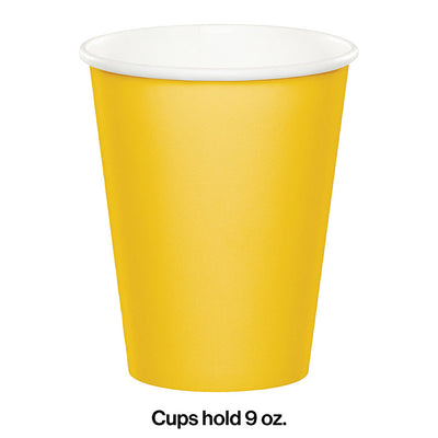 School Bus Yellow Hot/Cold Paper Paper Cups 9 Oz., 8 ct Party Decoration