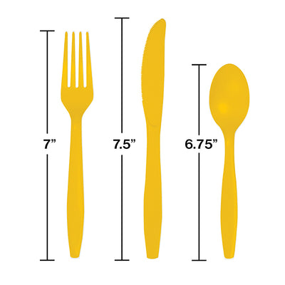 School Bus Yellow Assorted Cutlery, 18 ct Party Decoration