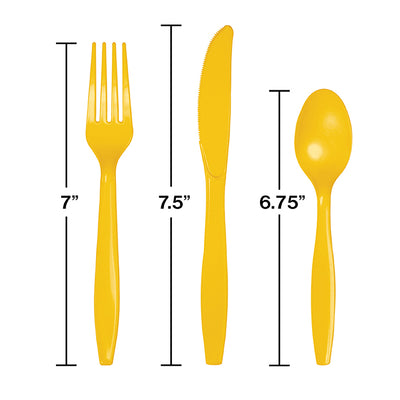 School Bus Yellow Assorted Plastic Cutlery, 24 ct Party Decoration