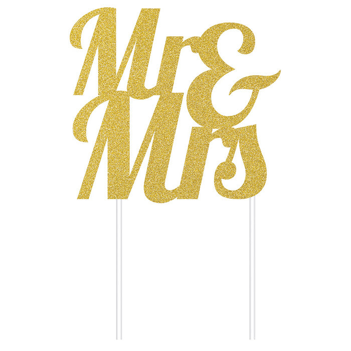 Gold Glitter Mr & Mrs Cake Topper by Creative Converting