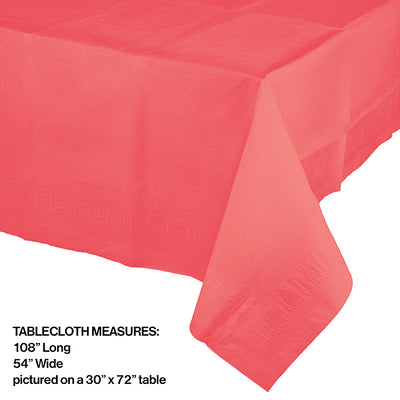 "Coral Tablecover 54""X 108"" Polylined Tissue Party Decoration"