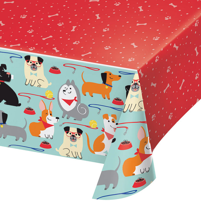 "Dog Party Plastic Tablecover All Over Print, 54"" X 102"" by Creative Converting"