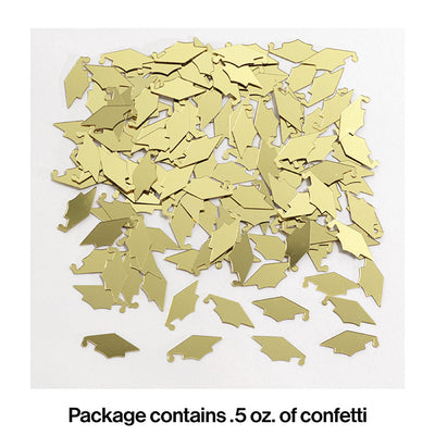 Gold Mortarboards Graduation Confetti, 0.5 oz Party Decoration