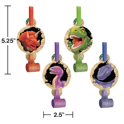 Dino Blast Blowouts W/Med, 8 ct Party Decoration