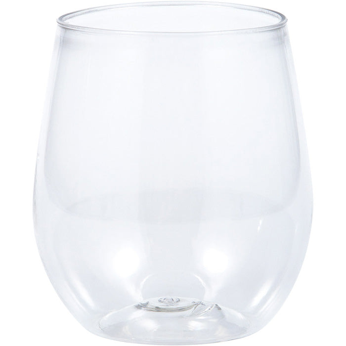 Clear Plastic Stemless Wine Glasses 14 Oz, 4 ct by Creative Converting