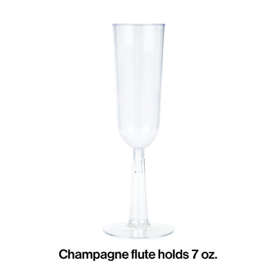 Clear Plastic Champagne Flutes, 7 Oz, 4 ct Party Decoration
