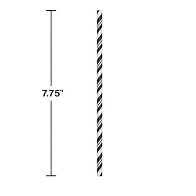 Black Striped Paper Straws, 24 ct Party Decoration
