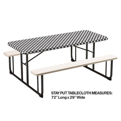 "Stay Put Tablecover Black Check, 29"" X 72"" Party Decoration"