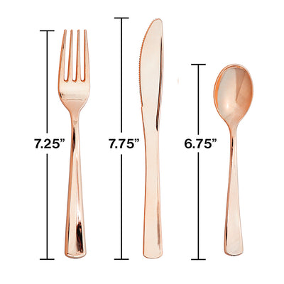 Assorted Cutlery, Metallic Rosegold, 24 ct Party Decoration