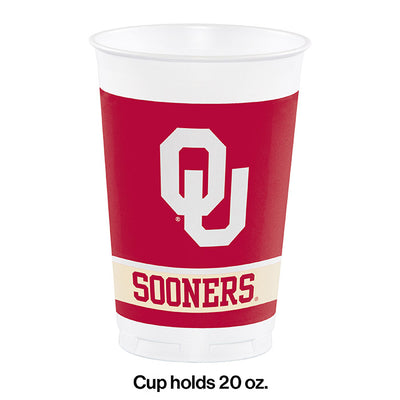 University Of Oklahoma 20 Oz Plastic Cups, 8 ct Party Decoration
