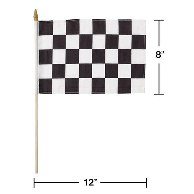"Black And White Check Cloth Racing Flag, 8"" X 12"" Party Decoration"