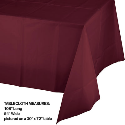 "Burgundy Tablecover Plastic 54"" X 108"" Party Decoration"