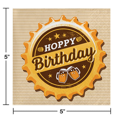 Cheers And Beers Beverage Napkins, Hoppy Birthday, 16 ct Party Decoration