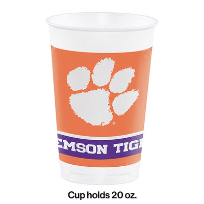 Clemson University 20 Oz Plastic Cups, 8 ct Party Decoration