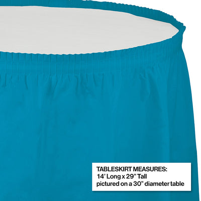 "Turquoise Plastic Tableskirt, 14' X 29"" Party Decoration"