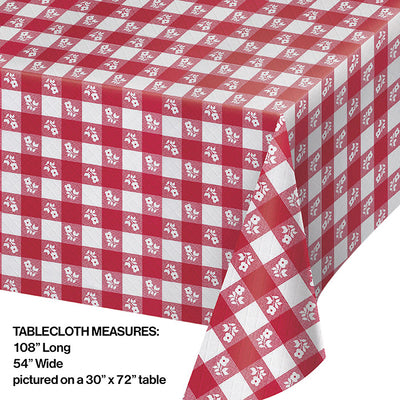 "Red Gingham Tablecover Plastic 54"" X 108"" Party Decoration"