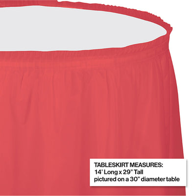 "Coral Plastic Tableskirt, 14' X 29"" Party Decoration"