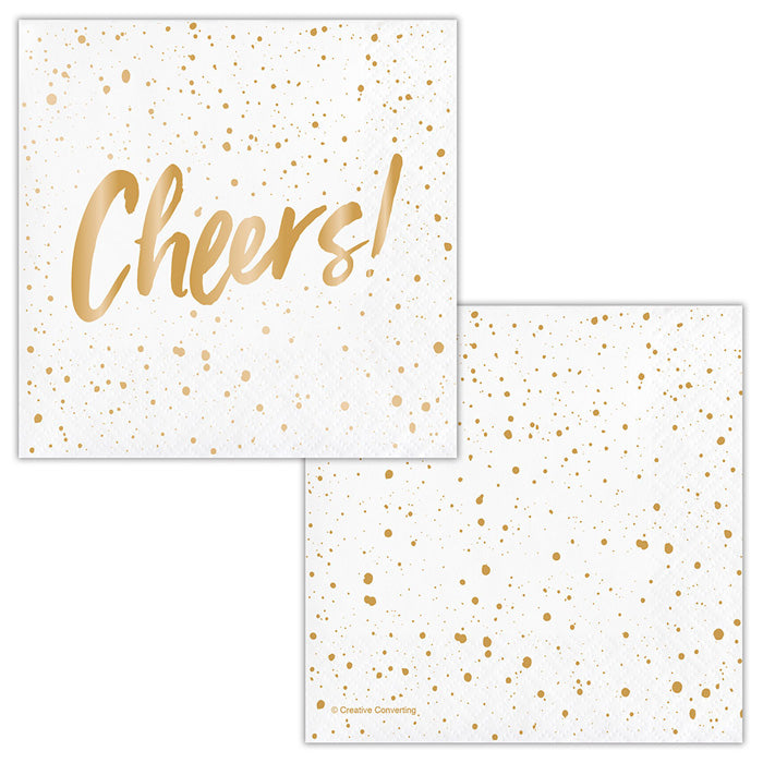 Cheers Gold Foil Beverage Napkins By Elise 24ct by Creative Converting