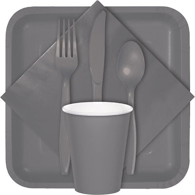 Glamour Gray Dinner Napkins 3Ply 1/4Fld, 25 ct Party Decoration