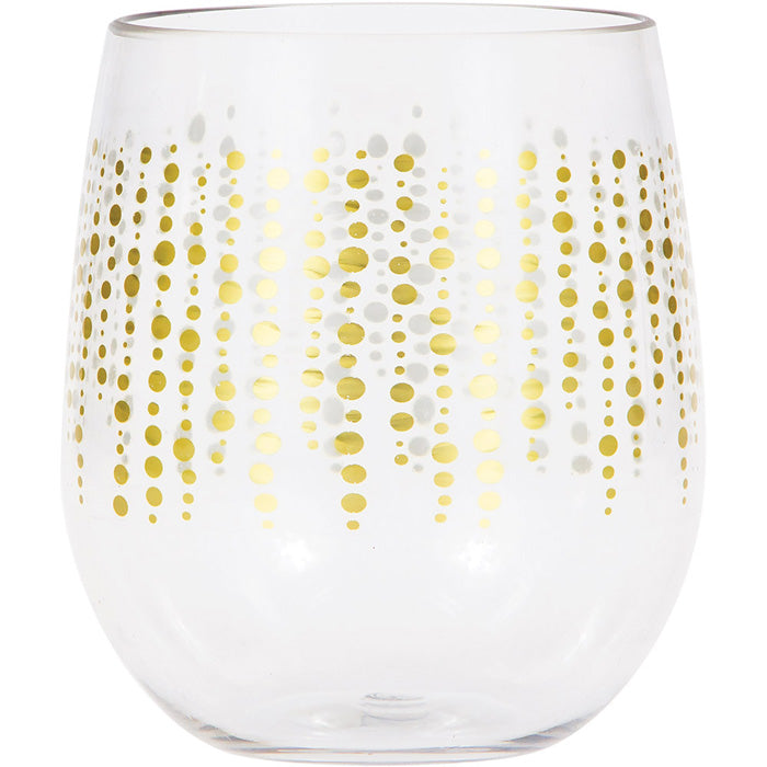 Glittering Gold Dots Plastic Stemless Wine Glass By Elise by Creative Converting