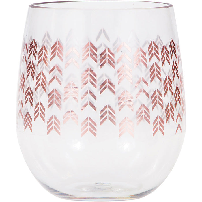 Rose Gold Chevron Plastic Stemless Wine Glass By Elise by Creative Converting