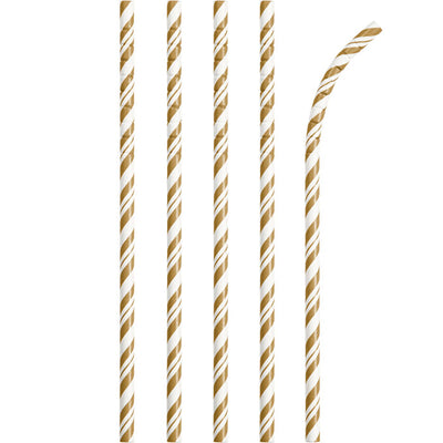 Gold And White Striped Paper Straws, 24 ct by Creative Converting