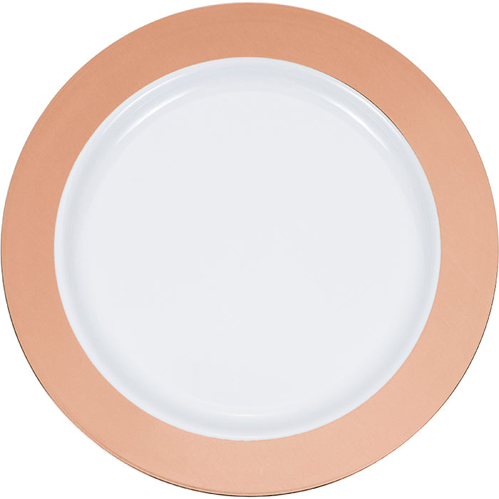 "7.5"" Rosegold Rim Plastic Plate 10ct by Creative Converting"