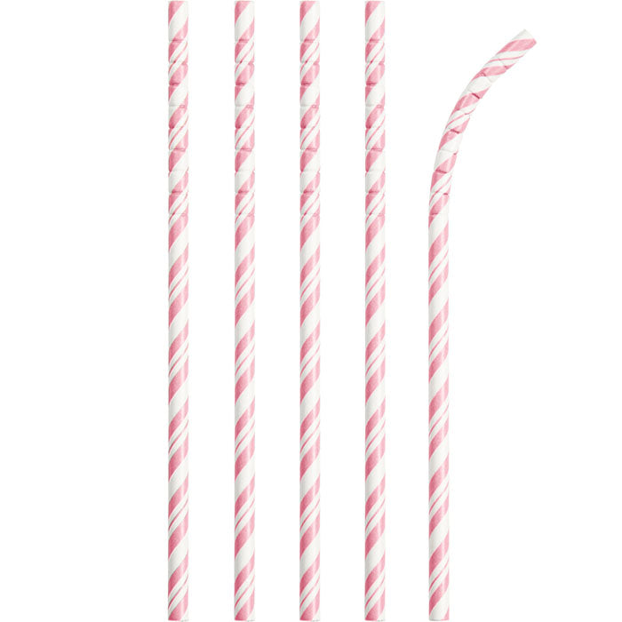 Classic Pink Striped Paper Straws, 24 ct by Creative Converting