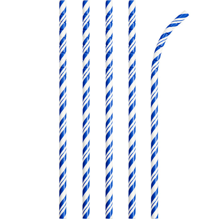 Cobalt Blue Striped Paper Straws, 24 ct by Creative Converting