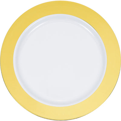"10.25"" Gold Rim Plastic Plate 10ct by Creative Converting"