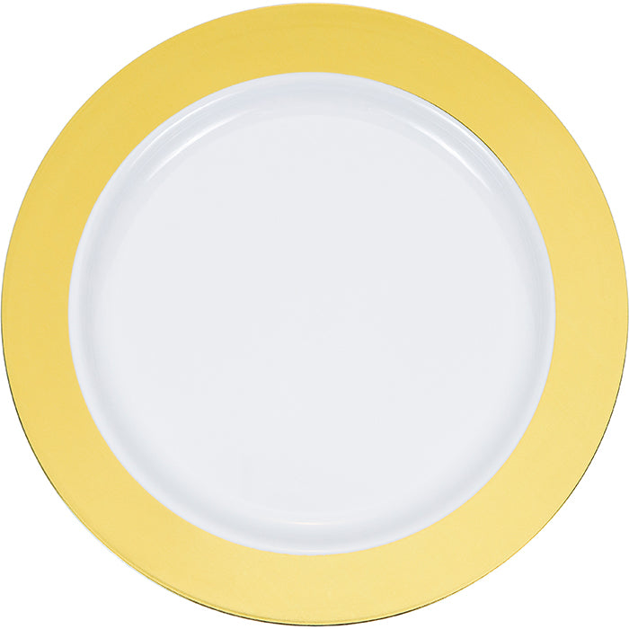 "7.5"" Gold Rim Plastic Plate 10ct by Creative Converting"