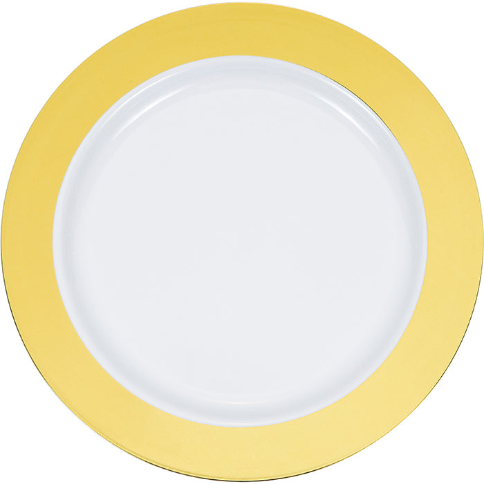 "9"" Gold Rim Plastic Plate 10ct by Creative Converting"
