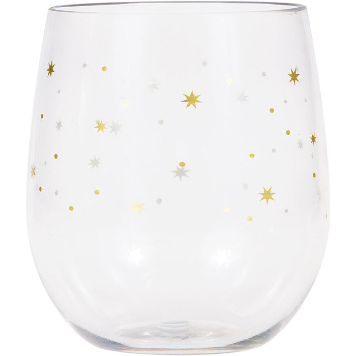 Stars Plastic Stemless Wine Glass By Elise by Creative Converting