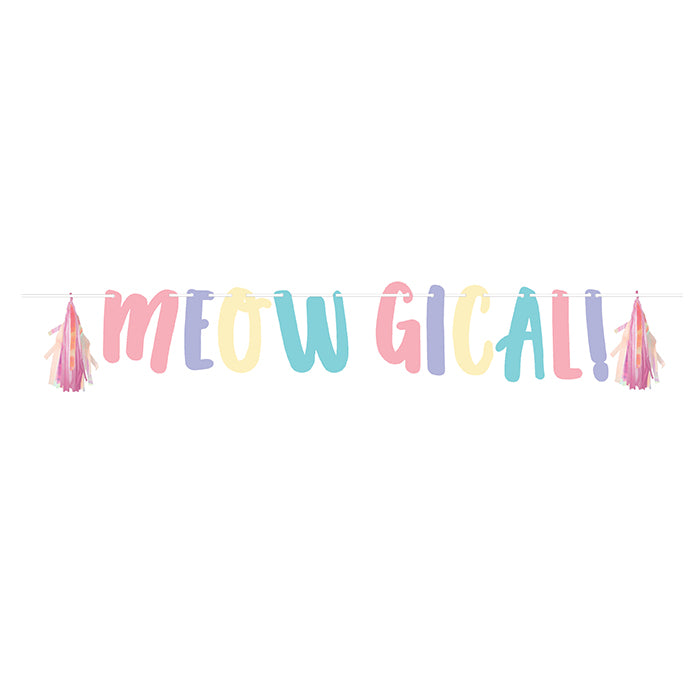 Sassy Caticorn Shaped Banner With Ribbon And Tissue Tassles by Creative Converting