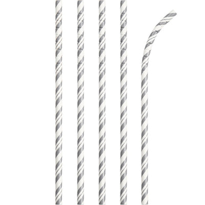 Silver And White Striped Paper Straws, 24 ct by Creative Converting