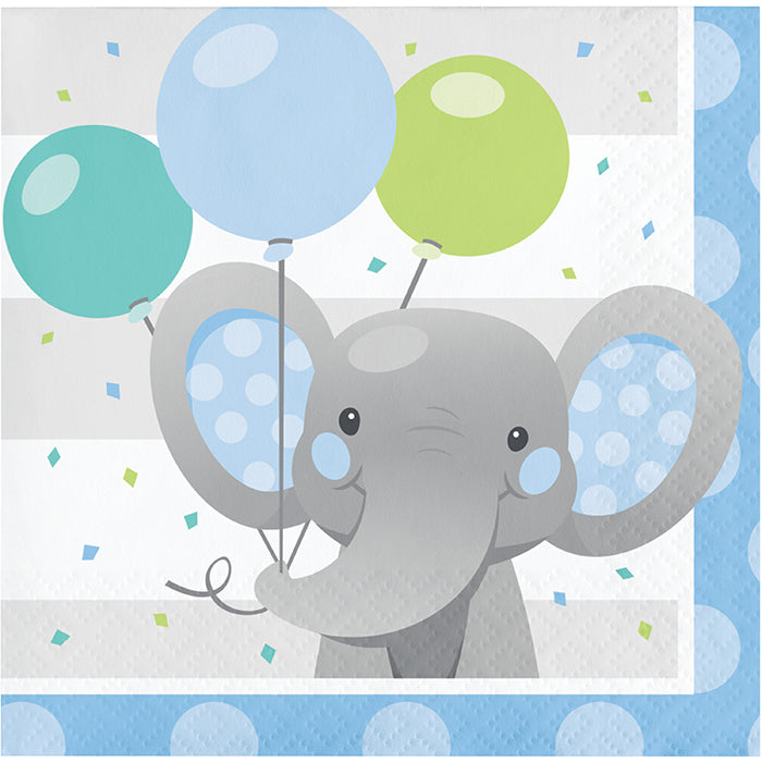 Enchanting Elephants Boy Beverage Napkins 16ct by Creative Converting