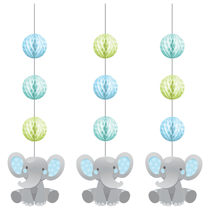 Enchanting Elephants Boy Hanging Cutouts W/ Honeycomb 3ct by Creative Converting
