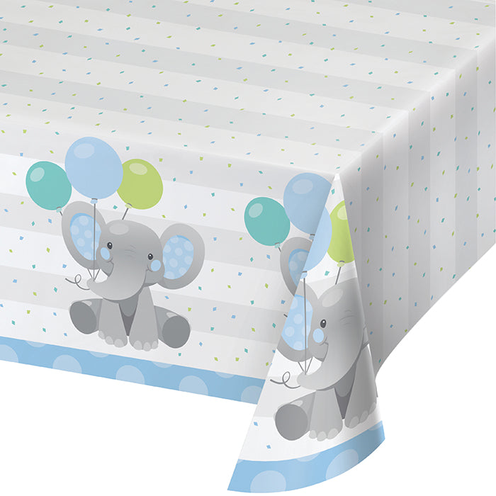 "Enchanting Elephants Boy Paper Tablecover 54"" X 102"" by Creative Converting"