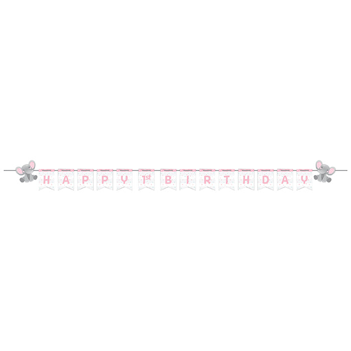 Enchanting Elephants Girl Shaped Banner With Ribbon & Stickers, Diy by Creative Converting