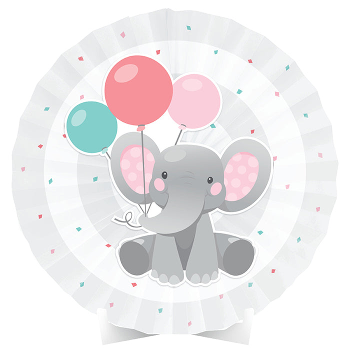 Enchanting Elephants Girl Centerpiece Paper Fan W/ Cutout by Creative Converting